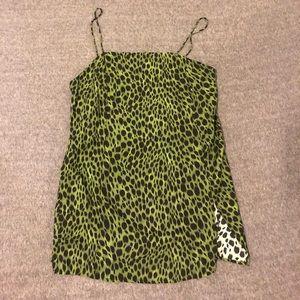 princess polly Green cheetah mini dress